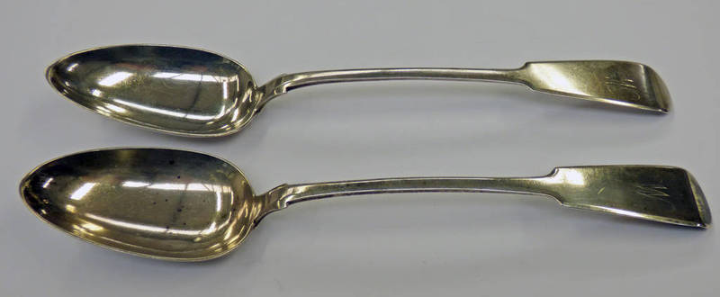 PAIR OF SCOTTISH PROVINCIAL SILVER FIDDLE PATTERN SERVING SPOONS BY GEORGE BOOTH ABERDEEN CIRCA