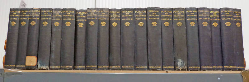 HAKLUYTUS POSTHUUS OR PURCHAS HIS PILGRIMES BY SAMUEL PURCHAS IN 20 VOLUMES, LACK VOL.