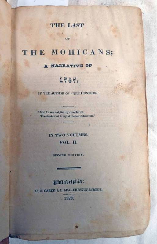 THE LAST OF THE MOHICANS; A NARRATIVE OF 1757 BY JAMES FENIMORE COOPER,