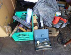 BOX OF VARIOUS SAWS, WOOD PLANE, SET OF DRILL BITS, FOOT PUMP, ETC, BLACK & DECKER CIRCULAR SAW,