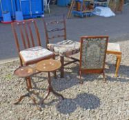 OAK DINING CHAIR ON SQUARE SUPPORTS & 1 OTHER, MAHOGANY FRAMED FIRE SCREEN,