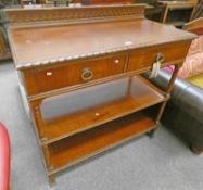 EARLY 20TH CENTURY MAHOGANY 3 TIER BUFFET WITH 2 DRAWERS 118CM TALL X 114CM WIDE