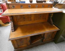 GOTHIC REVIVAL LATE 19TH CENTURY OAK BUFFET WITH CARVED DECORATION & 3 PANEL DOORS ON PLINTH BASE