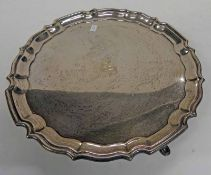 LARGE SILVER SALVER ON PAD FEET BY FENTON BROTHERS, SHEFFIELD 1918 - 31CM DIAMETER,