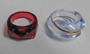 2 BACCARAT CRYSTAL RINGS