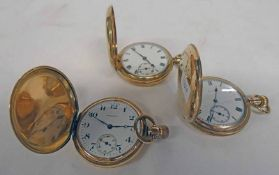 3 GOLD PLATED HUNTER POCKET WATCHES INCLUDING 1 BY WALTHAM & ANOTHER BY ELGIN Condition