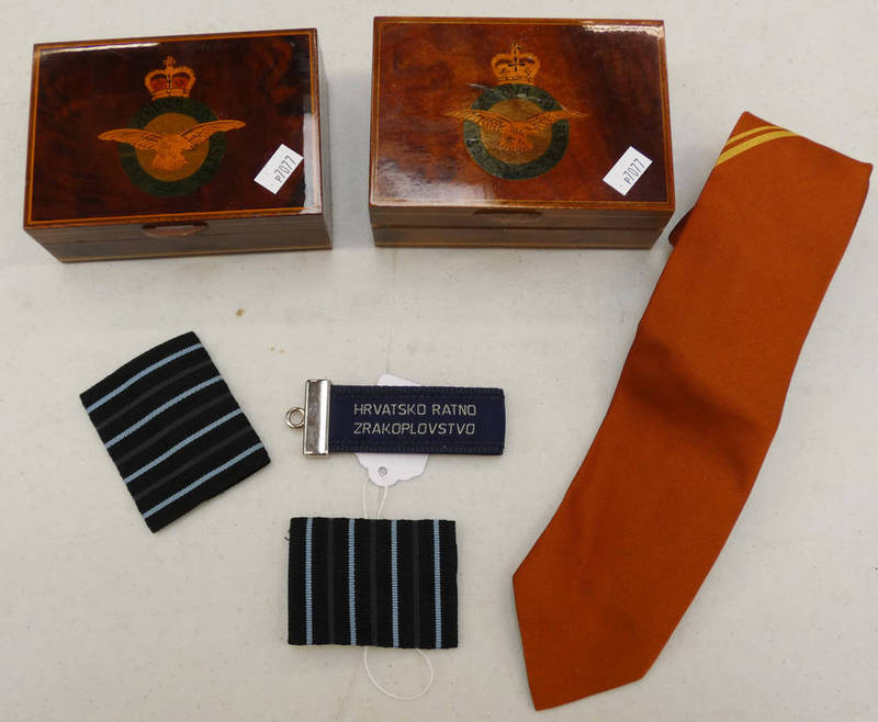 TWO INLAID RAF BOXES ,