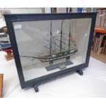 CASED DISPLAY CONTAINING 3 MAST MODEL SHIP WITH CLIPPER BOW, 58CM TALL,