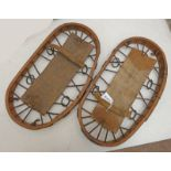 PAIR OF WOOD AND CANVAS SNOW SHOES