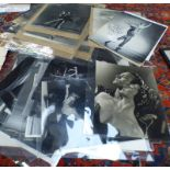 VARIOUS BLACK AND WHITE PHOTOGRAPHS ETC RELATING TO BALLET TO INCLUDE SEVERAL SIGNED EXAMPLES,