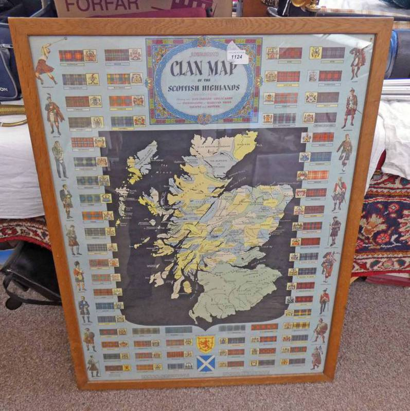 JOHNSTONS CLAN MAP OF THE SCOTTISH HIGHLANDS 97 X 72CM
