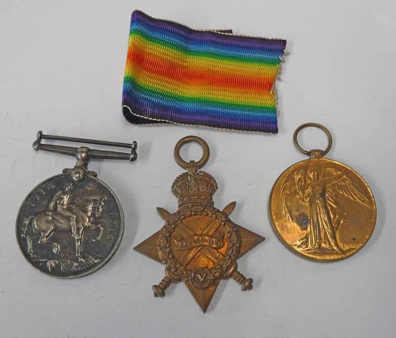 WW1 MEDAL TRIO WITH 1914-15 STAR NAMED TO 61275 GNR: A. MCPHAIL R. F. A.