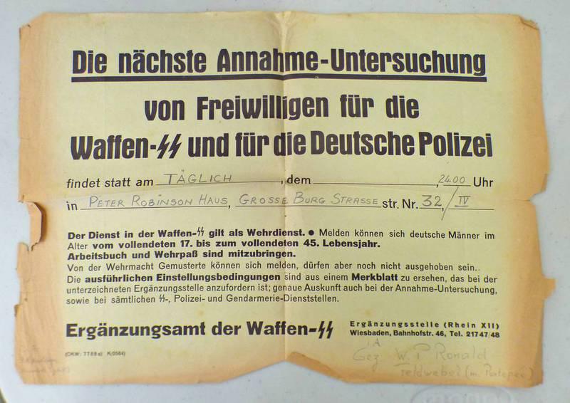 """WAFFEN SS ASSUMPTION OF VOLUNTEERS POSTER """"DIE NACHSTE ANNAHME - UNTERSUCHUNG VON FREIWILLIGEN FUR"""