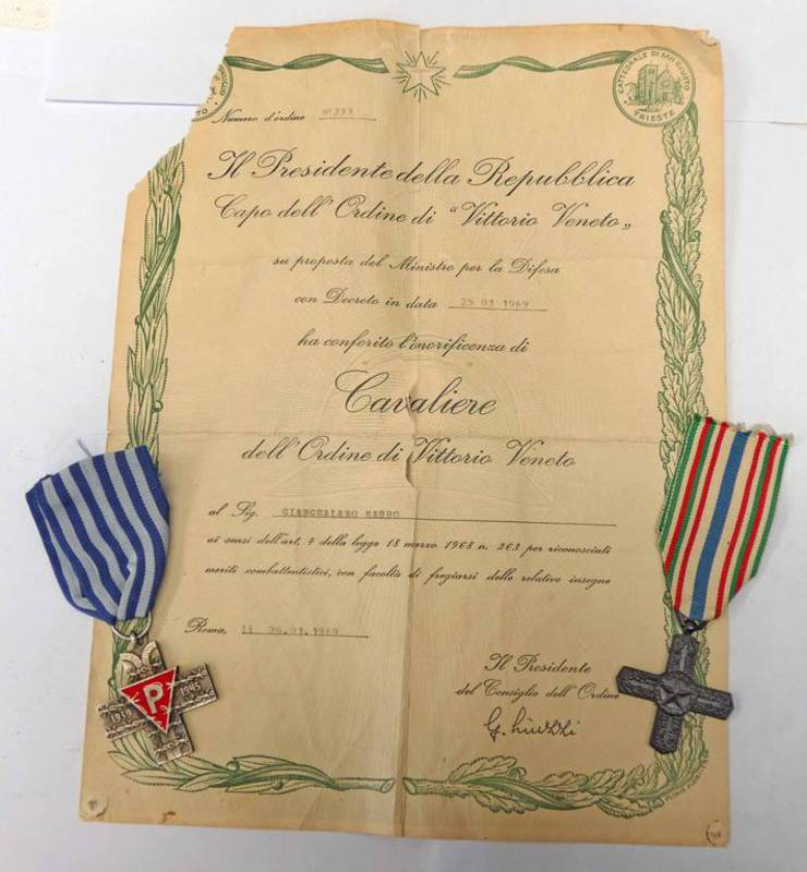 THE ORDER OF VILTORIO VENTO CROSS WITH RIBBON WITH PAPERWORK TO GIANGALANO MAURO 1969 & AN