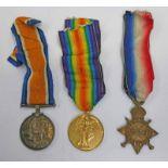 WW1 MEDAL TRIO WITH 1914-15 STAR NAMED TO 81222. GNR. E. GORDON. R. F. A.
