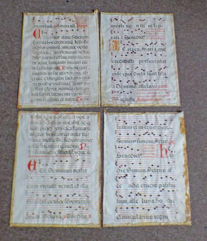 4 UNFRAMED 15TH - 17TH CENTURY LATIN HYMN MUSIC SHEETS ON VELLUM 68 X 53 CM