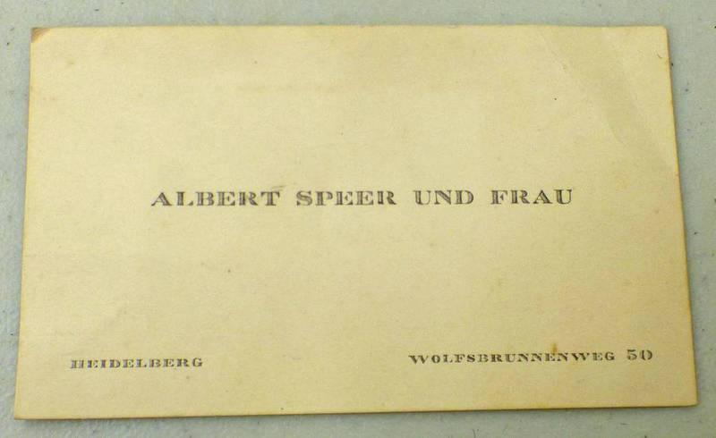 """WW2 ERA ALBERT SPEER BUSINESS CARD MARKED """"ALBERT SPEER UND FRAU"""" HEIDELBERG WOLFSBRUNNENWEG 50"""""""