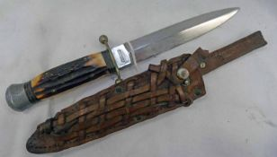 EDWARDIAN SPEAR POINTED BOWIE KNIFE MADE BY ANTON WINGEN WITH STAG HANDLE