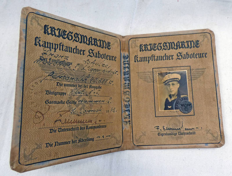 WW2 KRIEGSMARINE PASS BOOK FOR AN ATTACK DIVER Condition Report: possibly a document