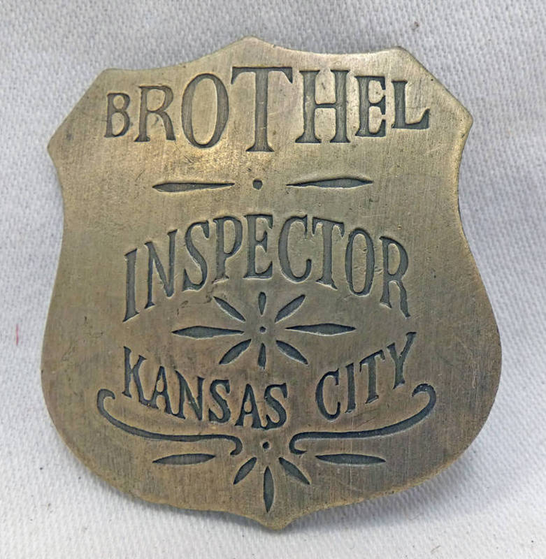 WESTERN STYLE KANSAS CITY BROTHEL INSPECTORS BADGE