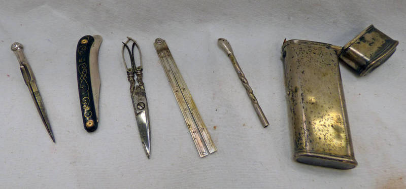 WHITE METAL CASED INSTRUMENT SET CONTAINING A FOLDING KNIFE,
