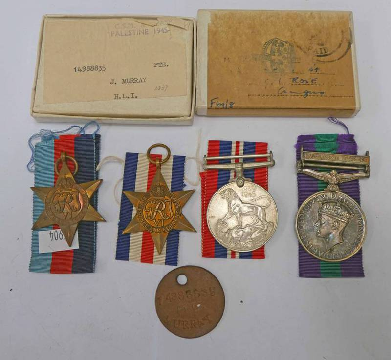WW2 MEDAL GROUP TO PRIVATE J MURRAY OF THE HIGHLAND LIGHT INFANTRY TO INCLUDE A GENERAL SERVICE