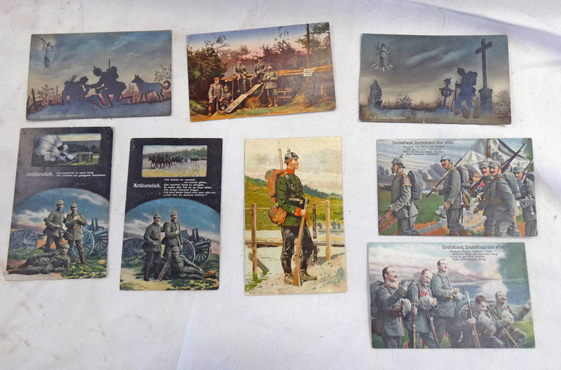 EIGHT POSTALLY USED GERMAN WW1 POSTCARDS Condition Report: 60