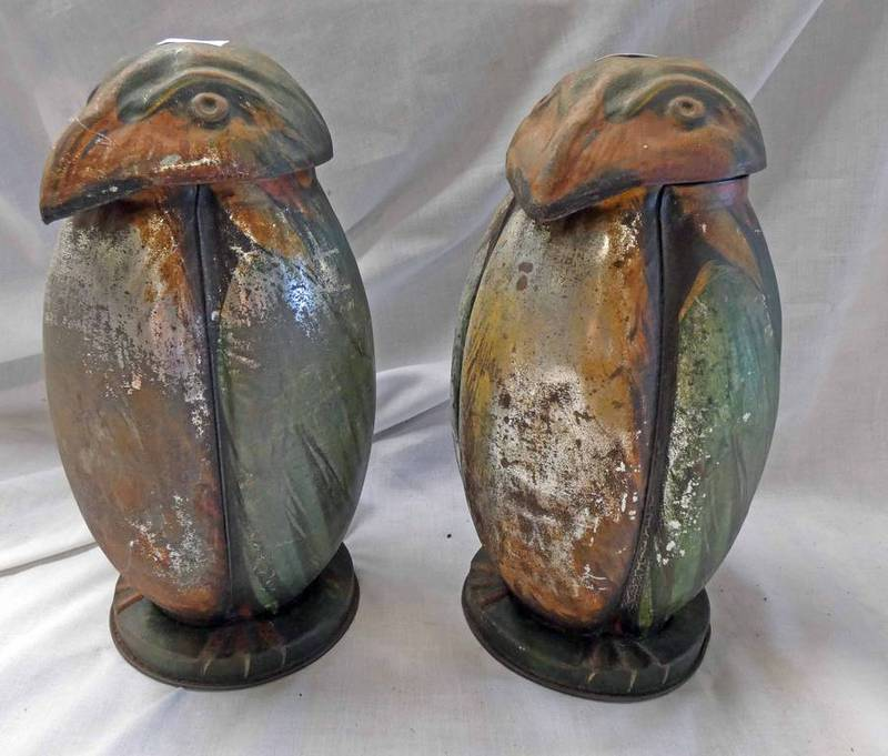 PAIR OF MCVITIE & PRICE EDINBURGH & LONDON TIN BISCUIT JARS IN THE FORM OF OWLS,
