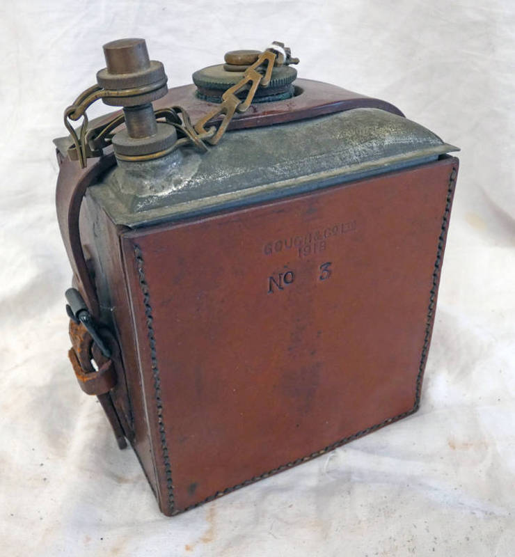WW1 CANADIAN LARGE LEATHER COVERED OIL BOTTLE