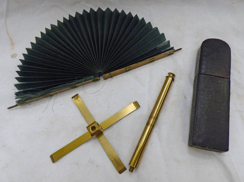 TRAVELLING POCKET LACQUERED BRASS MICROSCOPE IN ITS CASE ALONG WITH A BRASS AND FABRIC FOLDING