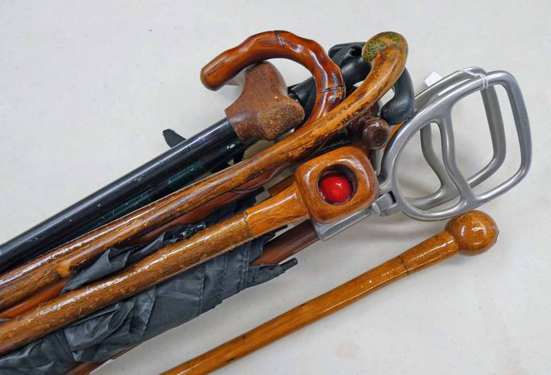 SELECTION OF WALKING STICKS ETC TO INCLUDE A SHOOTING STICK,