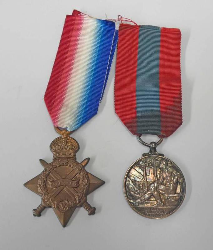 UNNAMED WW1 1914-15 STAR AND A GEORGE VI FAITHFUL SERVICE MEDAL TO ARTHUR GEORGE THOMPSON