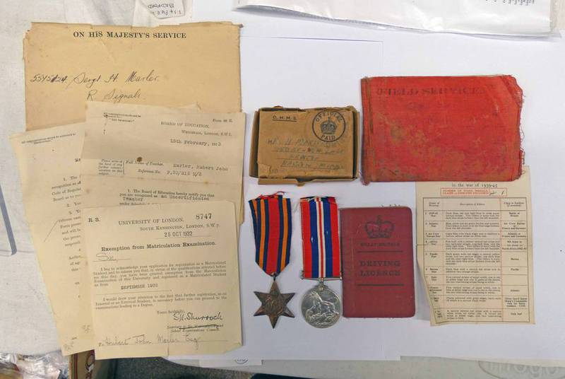 WW2 MEDAL GROUP TO SERGEANT H MARLER CONSISTING OF A BURMA STAR & A 1939-45 WAR MEDAL.