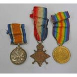 WW1 MEDAL TRIO WITH 1914-15 STAR NAMED TO 65099 PTE. E. H. KING. R. A. M. C.