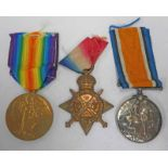 WW1 MEDAL TRIO WITH 1914-15 STAR NAMED TO 1912. PTE. H. A. WILSHER. R. A. M. C.