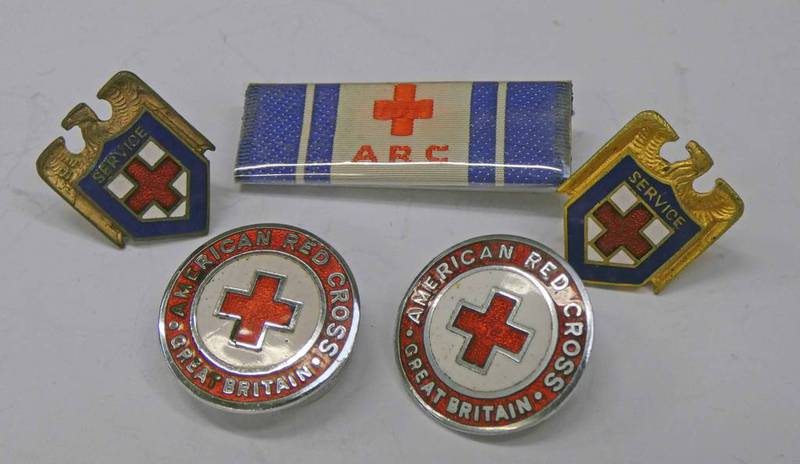 AMERICAN RED CROSS ENAMELLED BADGES AND BAR