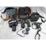 CANON EOS 500 CAMERA WITH 80-200MM 1:4.5-5.6 LENS, LUMIX GF1 CAMERA WITH 1:3.5-5.