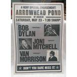 CONCERT POSTER 'ARROWHEAD POND OF ANAHEIM, SATURDAY, MAY 23 - 7:30 SHARP! BOB DYLAN, JONI MITCHELL,