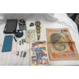 W WATSON & SONS LONDON BRITISH MILITARY COMPASS, BIBLE, BRASS WEIGHTS, MAP,