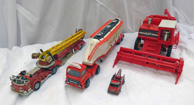 BRITAINS MASSEY-FERGUSON TRACTOR TOGETHER WITH CORGI AERIAL RESCUE TRUCK,