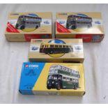 FOUR CORGI MODEL BUSES INCLUDING 35201 - GREEN LINE LONDON TRANSPORT DAIMLER CW UTILITY BUS,