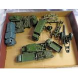 SELECTION OF PLAYWORN DINKY MILITARY RELATED MODEL VEHICLES INCLUDING PRESSURE REFUELLER,