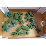 SELECTION OF PLAYWORN DINKY MILITARY RELATED MODEL VEHICLES INCLUDING CENTURION TANK,