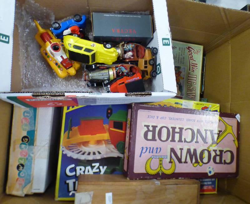 SELECTION OF PLAYWORN CORGI ETC MODEL VEHICLES TOGETHER WITH A SELECTION BOARD GAMES AND OTHERS