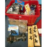 SELECTION OF VARIOUS ITEMS INCLUDING BRITAINS MILITARY FIGURES, MODEL VEHICLES,