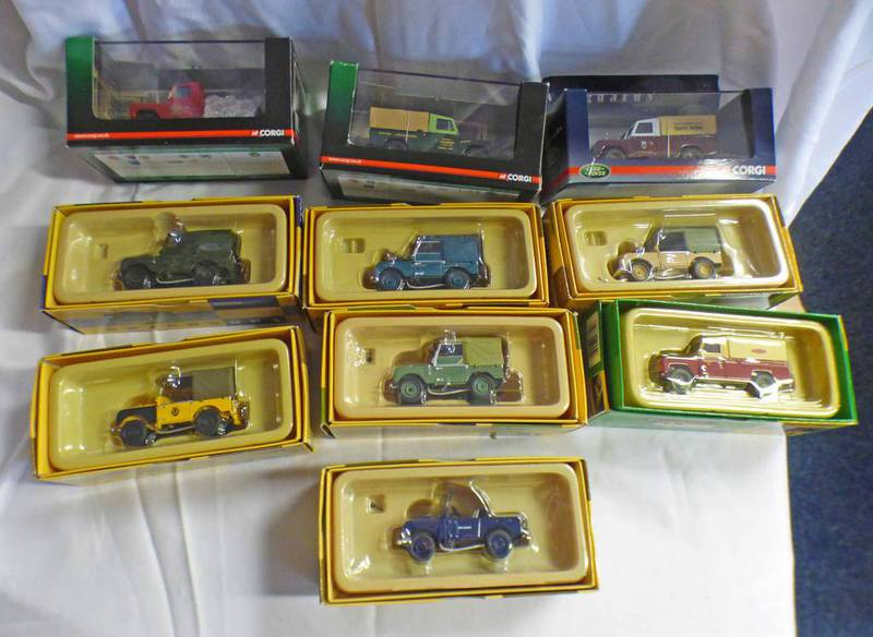 SELECTION OF VANGUARD 1:43 SCALE LAND ROVER INCLUDING VA11101 - SERIES 1 GREEN 60TH ANNIVERSARY VA