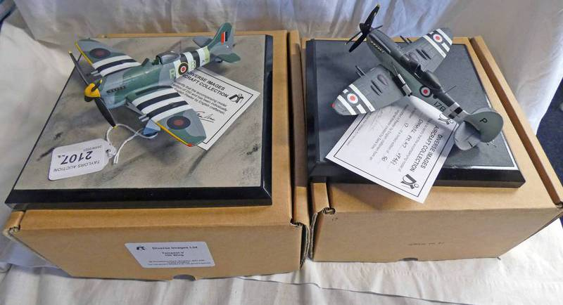 TWO DIVERSE IMAGE LTD PEWTAR MODEL AIRCRAFT INCLUDING FR47 SEA FIRE TOGETHER WITH TEMPEST V 150