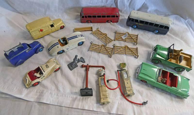 SELECTION OF PLAYWORN DINKY TOY MODEL VEHICLES INCLUDING LEYLAND ROYAL TIGER BUS, DAIMLER AMBULANCE,
