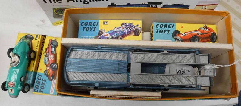 CORGI TOYS GIFT SET NO 16 - ECURIE ECOSSE RACING CAR TRANSPORTER AND THREE RACING CARS.