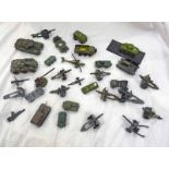SELECTION OF PLAYWORN MILITARY RELATED MODEL VEHICLES FROM DINKY, CORGI,